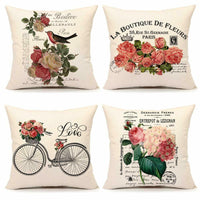 "Pillow Cases Covers Set of 4 18"" x 18"" Floral Flower Linen Shabby Chic Farmhouse"