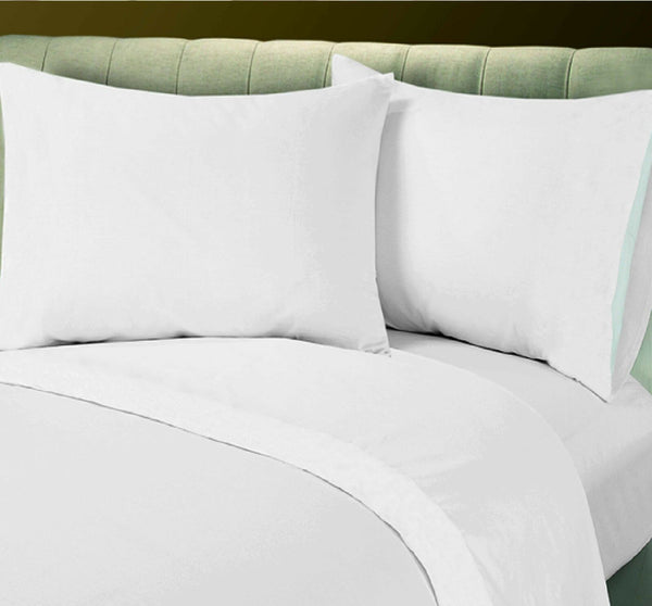 1 NEW WHITE COTTON BLEND LINEN PERCALE FULL SHEET SET T-250, HOTEL BEDDING SALE
