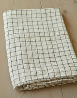 "100% Pure LINEN White Black Checked Pillowcase 20"" x 28"" Made in Europe NEW"