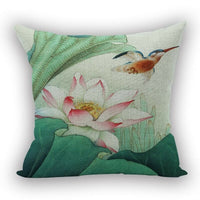 Lotus Flower Linen Throw Pillow Covers Summer Floral Decor Cushion Cover New