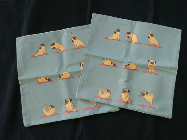 "18"" Polyester Linen Pug Yoga Throw Pillow Cases - Set of 2"