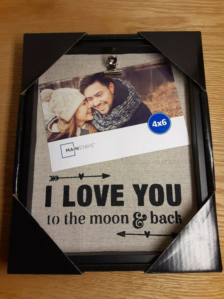 """I Love You To The Moon & Back"" 4""x6"" Burlap Back Plaque"