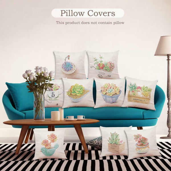 45CM Novel Plant Linen Pillowcases Car Pillow Cover Sofa Cushion Cover Decor