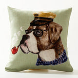 18 inch Cotton Linen Cool Dogs Hand Painting Print Pillow Cases