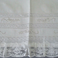 Antique White LINEN Pillow Case NORMANDY LACE Cutwork + Embroidered FLOWERS