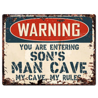 PP3737 WARNING ENTERING SON'S MAN CAVE Chic Sign Home Decor Funny Gift