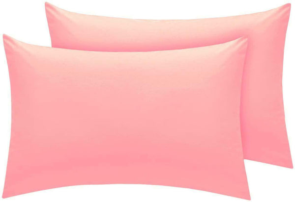 Linen Zone Easy Care Polycotton 18 Colours, House Wife Pillow Cases Pair - Pink