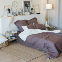 100% Flax Pure Organic Natural Linen Bedding Set Duvet Cover + 2 Pillowcases