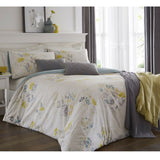 OLANDA DUVET COVER SET QUILT SKANDI FLORAL BEDDING LINEN SET LIME YELLOW OCHRE