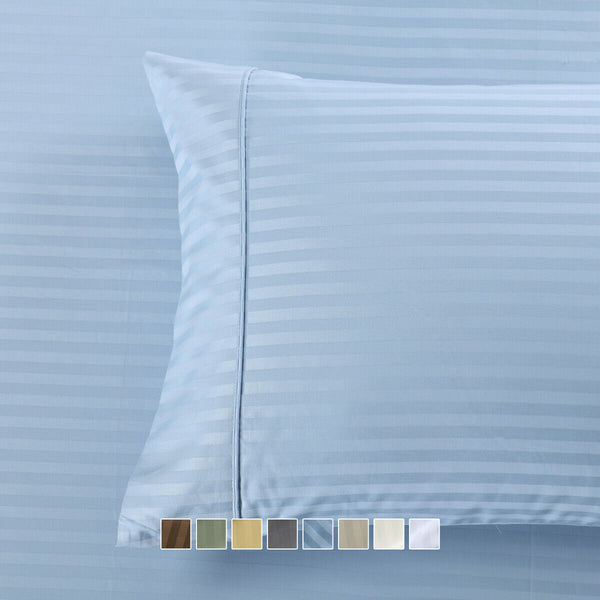 Set of Pillowcases Striped 650 Thread Count Combed-Cotton-Blend Wrinkle Free