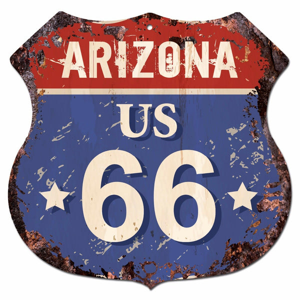 BP0714 ARIZONA US 66 Shield Rustic Chic Sign MAN CAVE Decor Gift