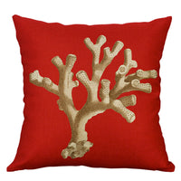 Coral Printing Cotton Linen Pillow Cases Cushion Cover Sofa Case Home Decor