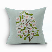 Cotton Linen Little Fresh Flowers Pillow Case Decorative Cushion cover gift