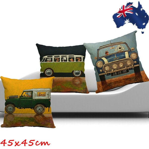 45x45 Linen Cotton Throw Pillow Case Sofa Cushion Cover Green Blue HPICA454