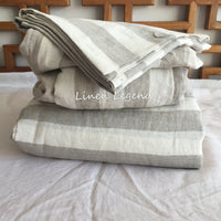 4 pcs SET soft Linen Bedding Duvet Cover Pillowcases Fitted sheet Oatmeal Stripe