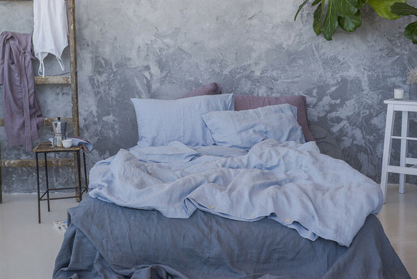 GLACIER GRAY STONEWASHED LINEN BED SET DUVET COVER WITH PILLOWCASES SOFT BEDDING
