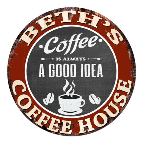 CPCH-0199 BETH'S COFFEE HOUSE Chic Tin Sign Decor Gift Ideas