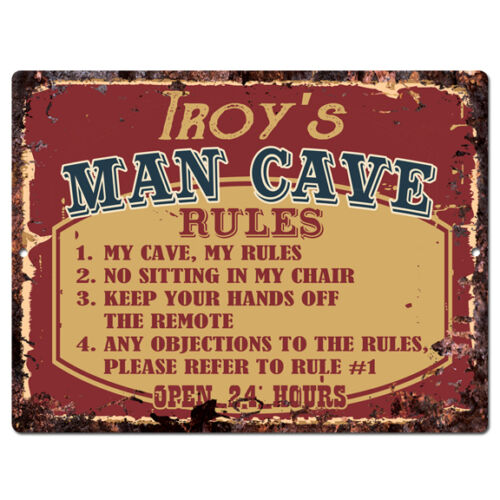 PPMR0138 TROY'S MAN CAVE RULES Rustic Tin Chic Sign man cave Decor Gift