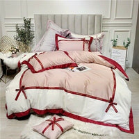 Princess Egyptian Cotton Bed Linen Bedding Red Bow Duvet Cover Pillowcases 4pcs