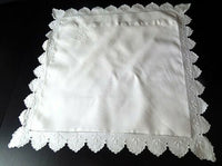 Vintage French Pillow Case Euro Sham in Finest Linen with Exceptional Hand Embro