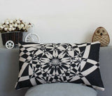 Linen cotton Rectangular PILLOW CASES CUSHION COVERS 30 X 50 Kaleidoscope black