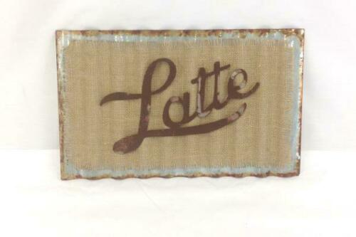 """Latte"" Corrugated Metal & Burlap Plaque 15""x9"" Hanging Kitchen Home Cafe Decor"