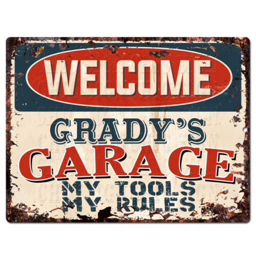 PPWG0459 WELCOME GRADY'S GARAGE Chic Sign man cave decor Funny Gift