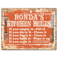PPKR0511 RONDA'S KITCHEN RULES Chic Sign Home Kitchen Decor Gift ideas