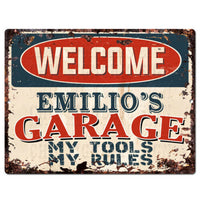 PPWG0490 WELCOME EMILIO'S GARAGE Chic Sign man cave decor Funny Gift