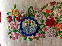 Hand Embroidered Folk Art Hungarian Pillow Down Filled Vintage Linen