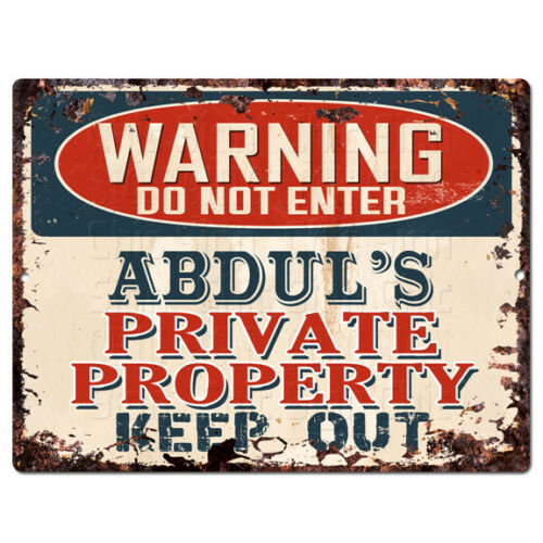 PPWP0831 WARNING ABDUL'S Private Property Chic Sign man cave decor Gift