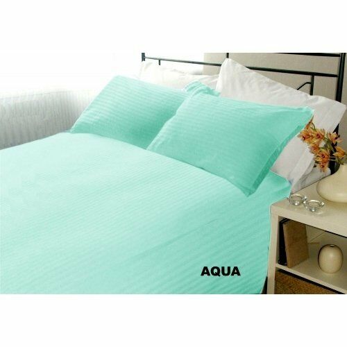 "Sleepwell Linen QUEEN 500TC 100% Egyptian Cotton 15"" 4PC Aqua Blue Stripe"