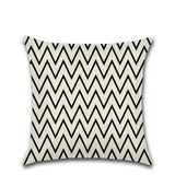 Linen cloth Home decor Black-and-white wave pattern Pillowcase Cushion cover