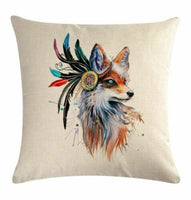 Cotton Linen Decorative Pillow Case Cover 18 x 18 inch animal heads and feather