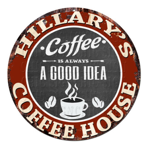 CPCH-0788 HILLARY'S COFFEE HOUSE Chic Tin Sign Decor Gift Ideas