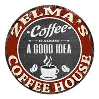 CPCH-0783 ZELMA'S COFFEE HOUSE Chic Tin Sign Decor Gift Ideas