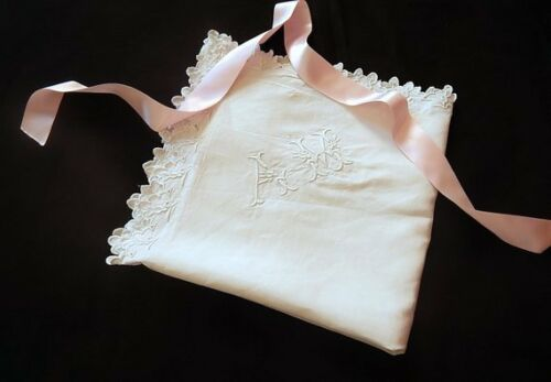 Single Vintage French Pillow Case/Euro Sham in Linen with Hand Embroidery
