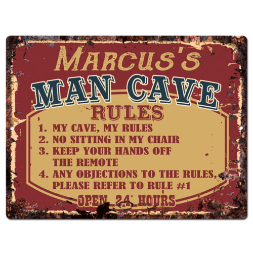PPMR0146 MARCUS'S MAN CAVE RULES Rustic Tin Chic Sign man cave Decor Gift