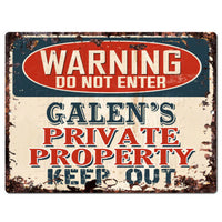 PPWP0714 WARNING GALEN'S Private Property Chic Sign man cave decor Gift