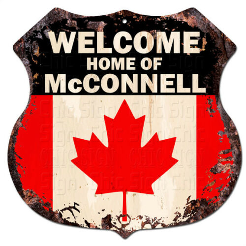 BPWC0800 Canada Flag Welcome Home of McCONNELL Family Name Sign Decor Gift