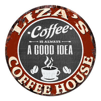 CPCH-0808 LIZA'S COFFEE HOUSE Chic Tin Sign Decor Gift Ideas