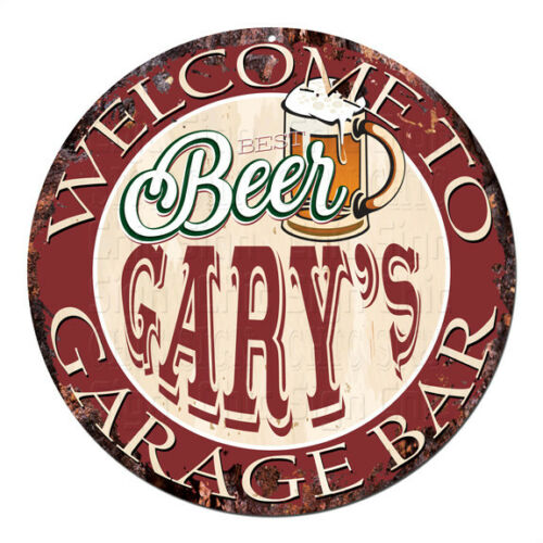 CPBG-0026 BEER GARY'S Garage Bar Chic Tin Sign Man Cave Decor Gift Ideas