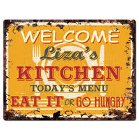 PPKM0808 LIZA'S KITCHEN Rustic Chic Sign Funny Kitchen Decor Birthday Gift
