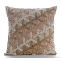 Japanese Design Beige Cotton Linen 26x26 inch Euro Pillow Cases - Tiffany Gold