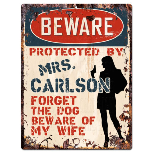 PPBW 0225 Beware Protected by MRS. CARLSON Rustic Chic Sign Funny Gift Ideas