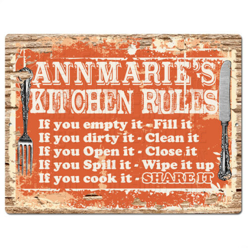 PPKR0946 ANNMARIE'S KITCHEN RULES Chic Sign Funny Kitchen Decor Birthday Gift