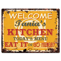 PPKM0777 TANIA'S KITCHEN Rustic Chic Sign Funny Kitchen Decor Birthday Gift