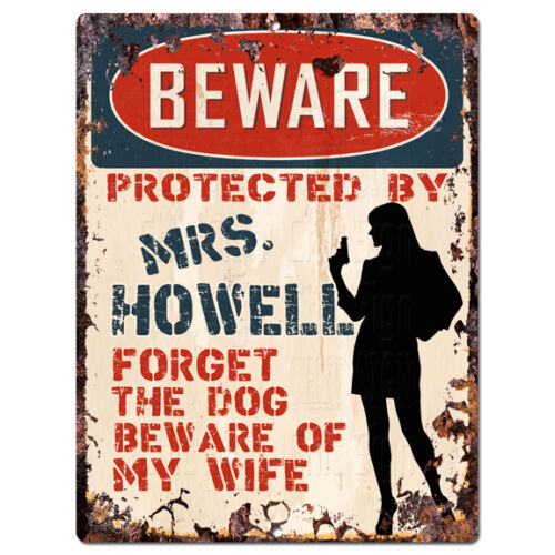 PPBW 0249 Beware Protected by MRS. HOWELL Rustic Chic Sign Funny Gift Ideas