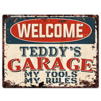 PPWG0505 WELCOME TEDDY'S GARAGE Chic Sign man cave decor Funny Gift
