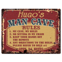 PPMR0438 HUGO'S MAN CAVE RULES Rustic Tin Chic Sign man cave Decor Gift